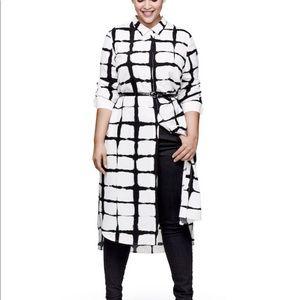 Adam Lippes white black plaid check shirt dress M